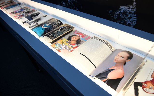 "Copies of Vogue are displayed at the press preview for ""Vogue 100: A Century of Style"" exhibiting the photographs that has been commissioned by British Vogue since it was founded in 1916 at National Portrait Gallery on February 10, 2016 in London, England. (Photo by Stuart C. Wilson/Getty Images)"