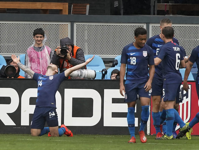 U.S. defender Paul Arriola (14) reacts after scoring a goal against Costa Rica during the second half of an international friendly soccer match Saturday, February 2, 2019, in San Jose, Calif. The U.S. team won 2-0. (Photo by Tony Avelar/AP Photo)