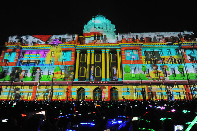 External view of the 4D Light Show held to celebrate new year at The Bund on December 31, 2013 in Shanghai, China.  (Photo by ChinaFotoPress/ChinaFotoPress via Getty Images)