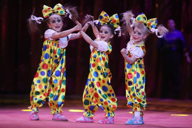 The Izhevsk trio performs during the opening of the 41st Monte-Carlo International Circus Festival in Monaco on January 19, 2017. (Photo by Valery Hache/AFP Photo)