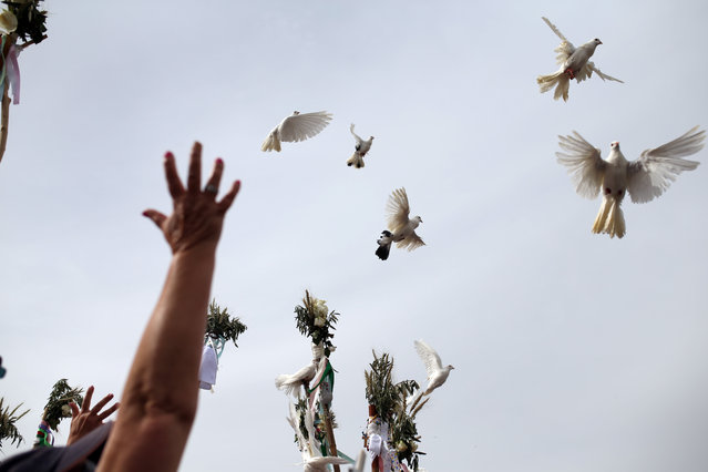 Worshippers release doves during a mass at the Our Lady of Fatima shrine, in Fatima, central Portugal, Wednesday, May 13, 2015. (Photo by Francisco Seco/AP Photo)