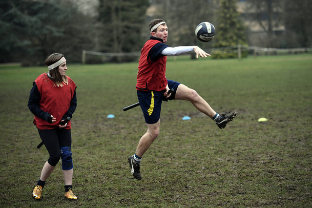 Members of Oxford University Quidditch team take part in a training session on February 8, 2017 in Oxford, England. (Photo by Jack Taylor/Getty Images)