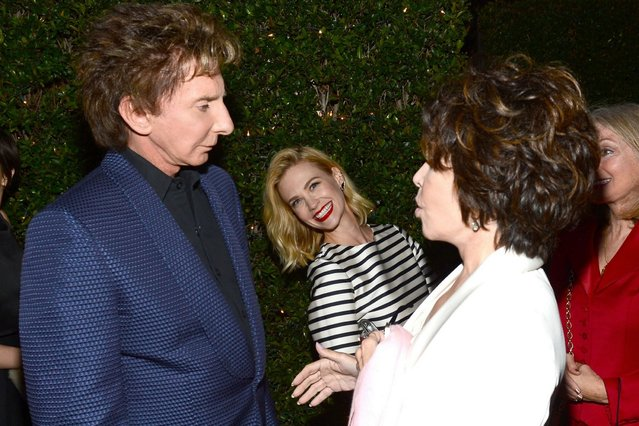 "Mad Men star January Jones is the only one smiling as Barry Manilow and Carole Bayer Sager have a chat at ""Rebels With A Cause"" Gala in Hollywood. (Photo by Mark Davis/Getty Images)"