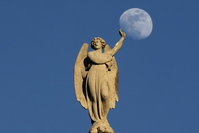 The crescent moon rises behind a statue on the Saint-Germain l'Auxerrois church in central Paris, France, April 18, 2016. (Photo by Christian Hartmann/Reuters)