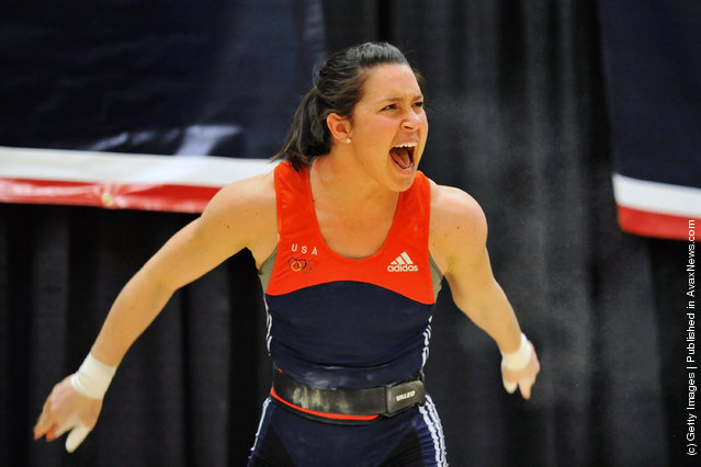 Natalie Burgener celebrates after successfully snatching 95 kilograms during the 2012 U.S. Olympic Team Trials for Women's Weightlifting