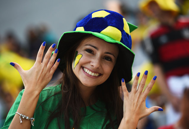A colourful fan looks on prior to the 2014 FIFA World Cup Brazil Group F match between Iran and Nigeria at Arena da Baixada on June 16, 2014 in Curitiba, Brazil. (Photo by Matthias Hangst/Getty Images)