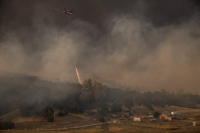 A helicopter drops water to protect a home from the rapidly moving Rocky Fire in Lake County, California July 30, 2015. (Photo by Max Whittaker/Reuters)