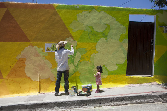 German Crew artist collective member Carlos Duarte is accompanied by young Regina Robles, as he paints a section of a gigantic mural in the Palmitas neighborhood of Pachuca, Mexico, Thursday, July 30, 2015. (Photo by Sofia Jaramillo/AP Photo)