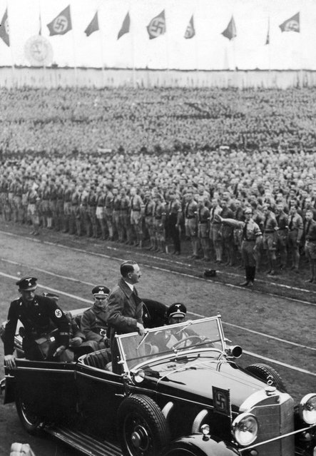 Nazi leader Adolf Hitler (1889 - 1945) arriving to give a May Day address at the Lustgarten in Berlin, 1st May 1936