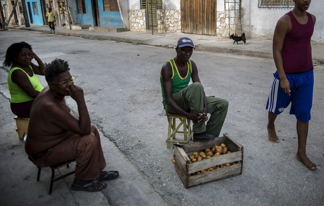 In this March 21, 2015 photo, a potato vender sits in the street as he visits with friends in Santiago, Cuba. Cubans across the country complain about low salaries and high prices, but there's an uncommon anger in many voices in Santiago. (Photo by Ramon Espinosa/AP Photo)
