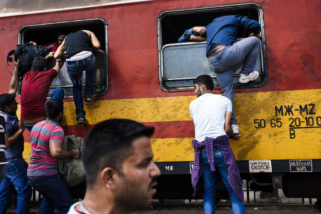 Migrants try to get on a train heading to the border with Serbia at the train station in Gevgelija, on the Macedonian-Greek border on August 7, 2015. Some 224,000 migrants and refugees have crossed the Mediterranean to Europe so far this year, the UN said. (Photo by Dimitar Dilkoff/AFP Photo)