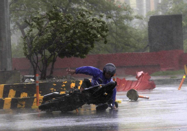 A motorcyclist falls down along a main road after strong winds brought  by Typhoon Rammasun, locally called Glenda, battered the capital, metro Manila July 16, 2014.  Philippine authorities evacuated almost 150,000 people from their homes and shuttered financial markets, government offices, businesses and schools on Wednesday as typhoon Rammasun gathered strength and hit the capital, Manila. (Photo by Romeo Ranoco/Reuters)