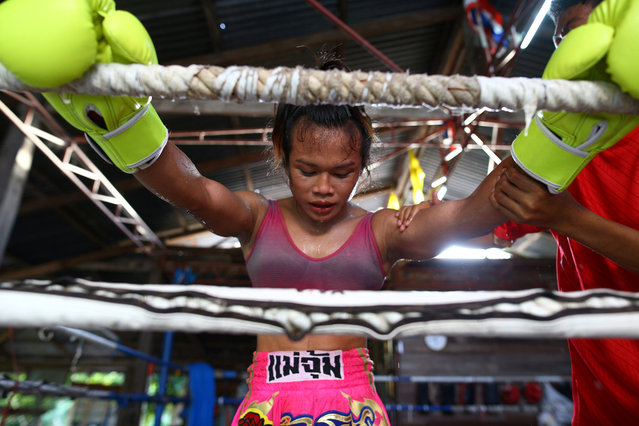 Muay Thai boxer Nong Rose Baan Charoensuk, who is transgender, trains at a gym in Buriram province, Thailand, July 3, 2017. (Photo by Athit Perawongmetha/Reuters)
