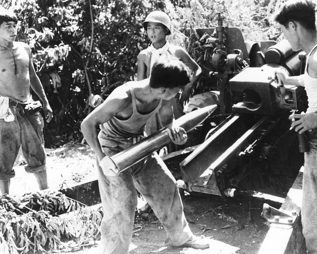 A South Korean gun crew preparing to fire a 105 mm Howitzer in support of the 1st Korean Infantry Division, during the Korean War, 12th August 1950. (Photo by Keystone)