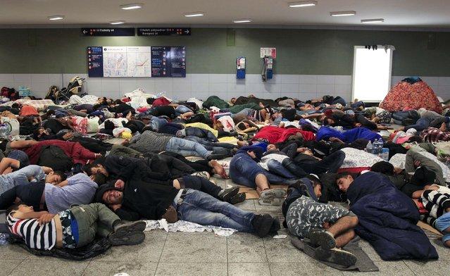 Migrants sleep near the Keleti railway station in Budapest, Hungary, September 3, 2015. (Photo by Bernadett Szabo/Reuters)