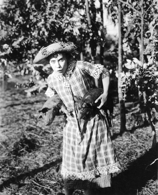 """American actress Louise Fazenda (1899–1962) in a scene from Mack Sennett's Keystone production of """"Down on the Farm"""", circa 1920. (Photo by Hulton Archive)"""