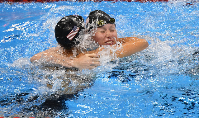 Lilly King (USA) (facing) wins Gold and Katie Meili (USA) snags Bronze  in the 100m Breaststroke final  during the Rio Olympic Games on August 8, 2016 in Rio De Janeiro , Brazil. (Photo by Jonathan Newton/The Washington Post)