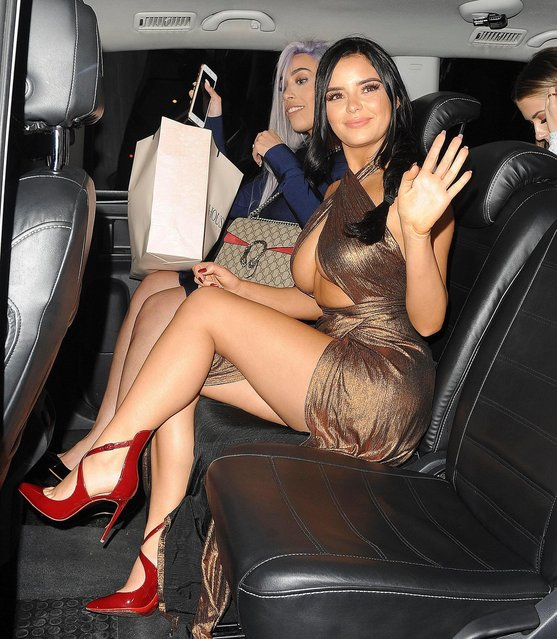 Demi Rose leaving Bob Bob Ricard on November 20, 2017 in London, England. (Photo by Splash News and Pictures)