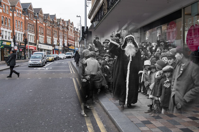 Archive: Father Christmas arriving at the Arding and Hobbs store on November 2, 1926 in Clapham Junction, London. (Photo by H. F. Davis/Topical Press Agency/Getty Images) Modern Day: Shoppers walk past shops in Clapham Junction on November 24, 2017 in London, England. (Photo by Chris J. Ratcliffe/Getty Images)