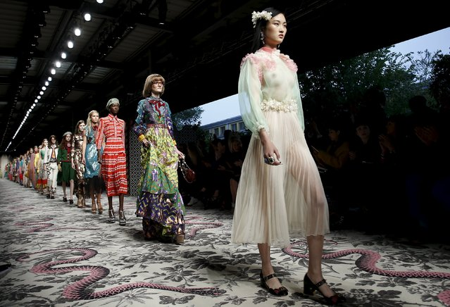 Models parade at the end of Gucci's Spring/Summer 2016 collection during Milan Fashion Week in Italy September 23, 2015. (Photo by Alessandro Garofalo/Reuters)