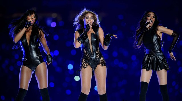 A reunited Destiny's Child – Kelly Rowland and Michelle Williams joined Beyonce on stage – performs during halftime of Super Bowl XLVII, on February 1, 2013. (Photo by Lionel Hahn/Abaca Press/MCT)