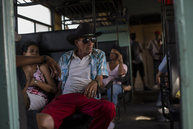 In this March 23, 2015 photo, a working cowboy travels by train to Santa Clara to participate in a rodeo, as the train moves through the province of Holguin, Cuba. (Photo by Ramon Espinosa/AP Photo)