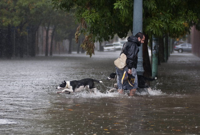 A man and dogs cross a flooded street in Belgrano neighborhood, Buenos Aires on April 2, 2013, after heavy reains. A violent storm with torrential rain and powerful wind left five people dead Tuesday in Buenos Aires as it knocked out power, downed trees and damaged homes, officials said. (Photo by Jose Luis Perrino/AFP Photo)