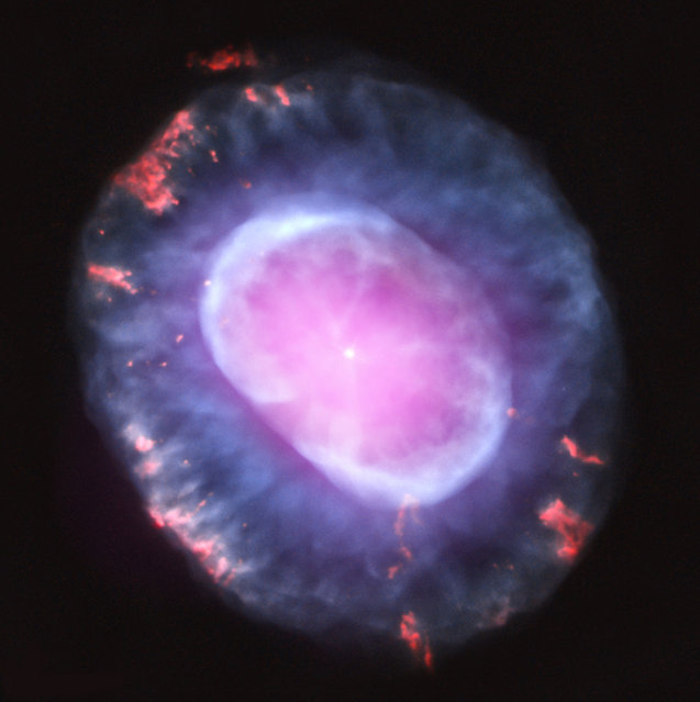 This image is of planetary nebula NGC 7662 as seen with the Chandra X-Ray Observatory. A planetary nebula is a phase of stellar evolution that the sun should experience several billion years from now, when it expands to become a red giant and then sheds most of its outer layers, leaving behind a hot core that contracts to form a dense white dwarf star. This image was released October 10, 2012. (Photo by J. Kastner/NASA/CXC/RIT)