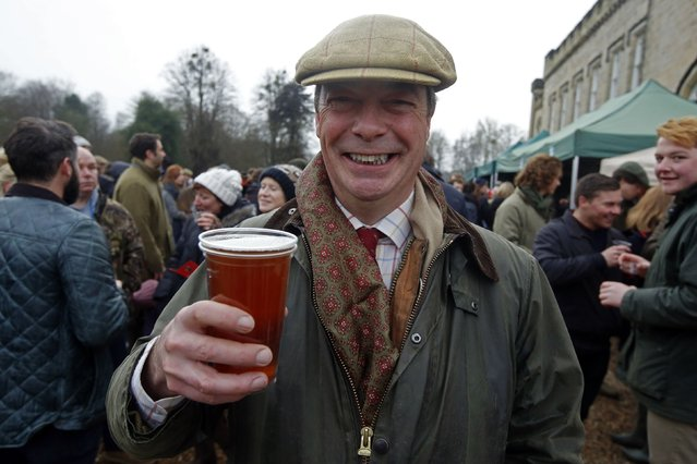 Leader of the United Kingdom Independence Party Nigel Farage attends the meet of the Old Surrey Burstow and West Kent Hunt at Chiddingstone Castle for the annual Boxing Day hunt in Chiddingstone, south east England December 26, 2014. (Photo by Luke MacGregor/Reuters)