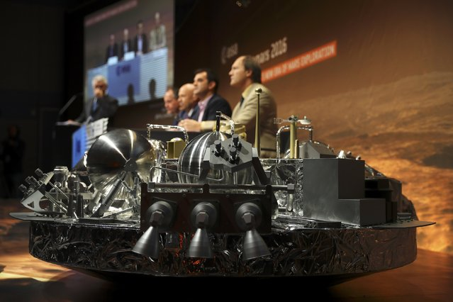 A full-size model of the European ExoMars entry, descent and landing module, Schiaparell is seen during a press conference at the European Space Agency (ESA) Headquarters in Darmstadt, Germany October 20, 2016. (Photo by Kai Pfaffenbach/Reuters)