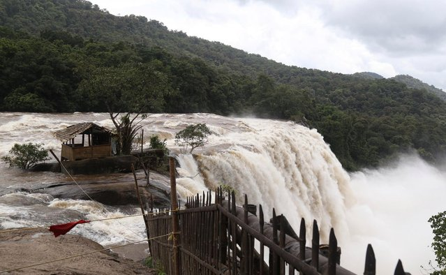Athirampally Falls seen at Athirampally Panchayat, Chalakudy Taluk, Thrissur District of Kerala, India, 13 August 2018. According to reports, the region is on a high alert with schools and offices been closed due to the rising water levels of Periyar river after the gates of the Idukki reservoir were opened. (Photo by Prakash Elamakkara/EPA/EFE)