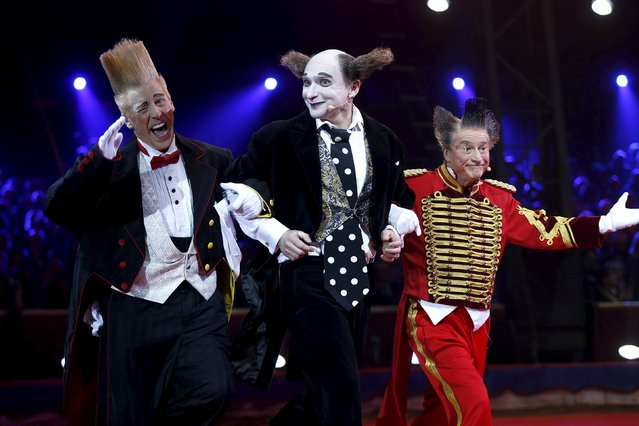 Housh ma Housh, Fumagalli and Bello Nock perform during the gala of the 40th Monte-Carlo International Circus Festival in Monaco January 19, 2016. (Photo by Valery Hache/Reuters/Pool)