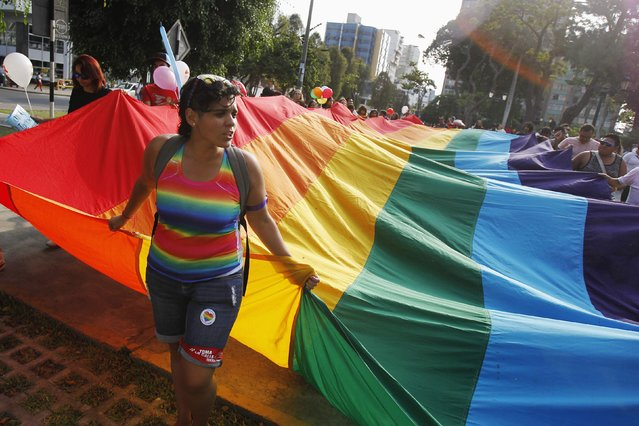 Members of gay and lesbian organizations hold a Gay Pride flag as they march in support of the Civil Union project law in Lima March 7, 2015.  REUTERS/Enrique Castro-Mendivil (PERU - Tags: POLITICS SOCIETY)
