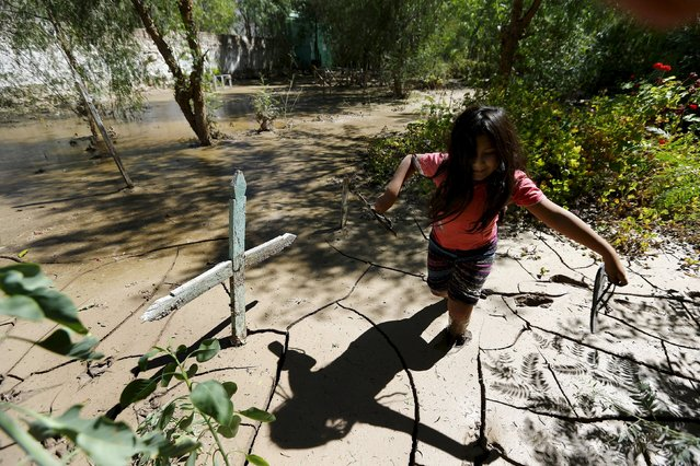 A child wades through the mud next to a grave inside the flooded cemetery in Los Loros town, April 7, 2015. The death toll from heavy rains and flooding that battered Chile last week has risen to 29, with another 150 still missing, according to authorities. (Photo by Ivan Alvarado/Reuters)