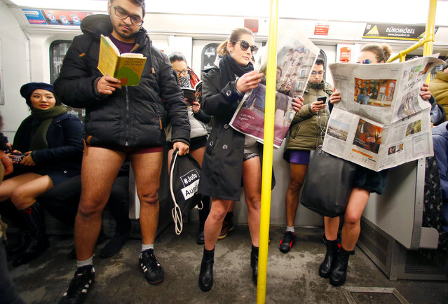 "People take part in the annual '""No Pants Subway Ride"" in Berlin, Germany, January 8, 2017. (Photo by Hannibal Hanschke/Reuters)"