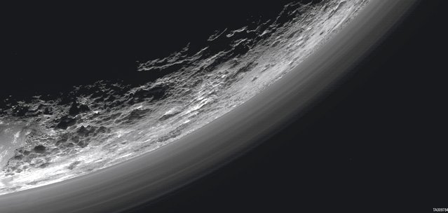 Haze layers above the dwarf planet Pluto are seen in an undated image taken by the Ralph/Multispectral Visible Imaging Camera (MVIC) on NASA's New Horizons spacecraft and released March 17, 2016. About 20 haze layers are seen; the layers have been found to typically extend horizontally over hundreds of kilometers, but are not strictly parallel to the surface. For example, scientists note a haze layer about 3 miles (5 kilometers) above the surface (lower left area of the image), which descends to the surface at the right. (Photo by Reuters/NASA/JHUAPL/SwRI)