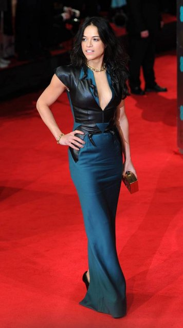 US actress Michelle Rodriguez arrives on the red carpet for the 2014 EE British Academy Film Awards ceremony at The Royal Opera House in London, Britain, 16 February 2014. (Photo by Facundo Arrizabalaga/EPA)