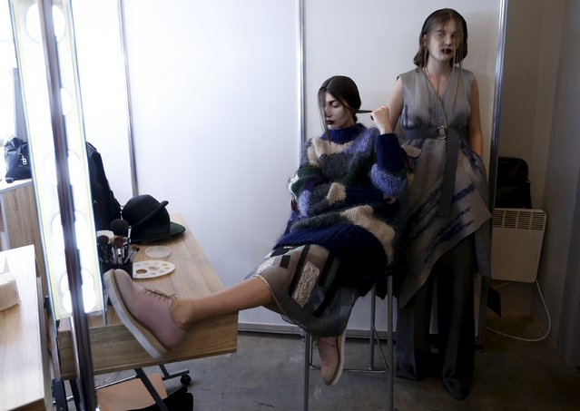 Models wait backstage during the Mercedes-Benz Fashion Days in Tbilisi, Georgia, May 2, 2015. (Photo by David Mdzinarishvili/Reuters)