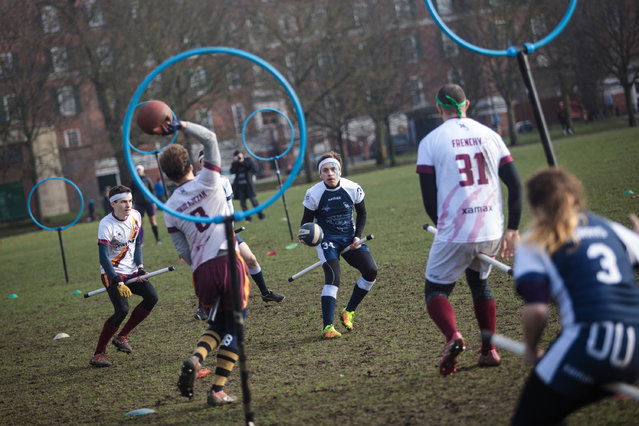 The Werewolves of London quidditch team (in white and red) play the Radcliffe Chimeras during the Crumpet Cup quidditch tournament on Clapham Common on February 18, 2017 in London, England. (Photo by Jack Taylor/Getty Images)