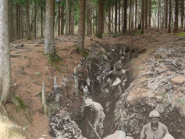 Verdun Trench: French troops digging a trench Verdun 1916 – 2014. (Photo by Adam Surrey)