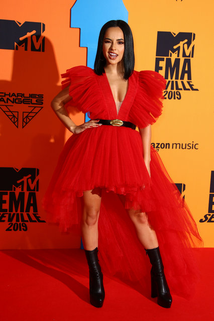 Becky G attending the MTV Europe Music Awards 2019, held at the FIBES Conference & Exhibition Centre of Seville, Spain on November 03, 2019. (Photo by PA Wire Press Association)