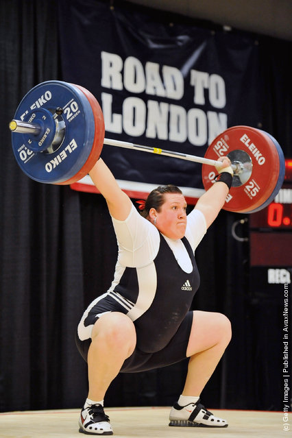 Sarah Robles successfully snatches 114 kilograms during the 2012 U.S. Olympic Team Trials for Women's Weightlifting