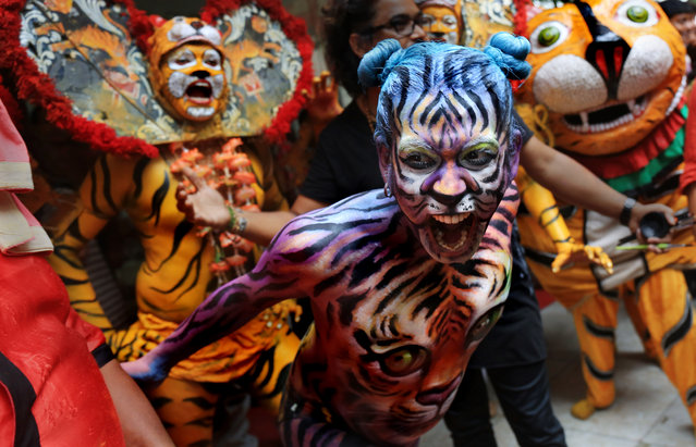Indian dancers paint their body like tigers as they perform a Tiger dance during the International day of the Tiger in Calcutta, India, July 29, 2015. Students of Calcutta are taking part in an awareness campaign aiming to draw attention to the threats that tigers face due to habitat loss and poaching. (Photo by Piyal Adhikary/EPA)