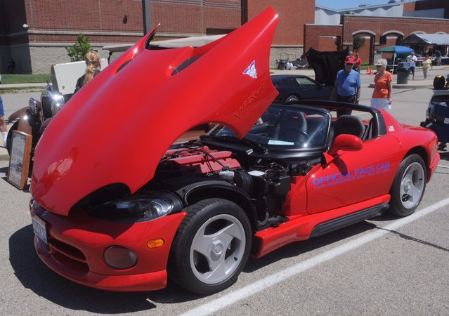 This 1993 Dodge Viper was one of over 150 cars at the eighth annual historic U.S Route 40 Mini-Nationals car show held on Sunday at Tecumseh high school. (Photo by Marshall Gorby/AP Photo)