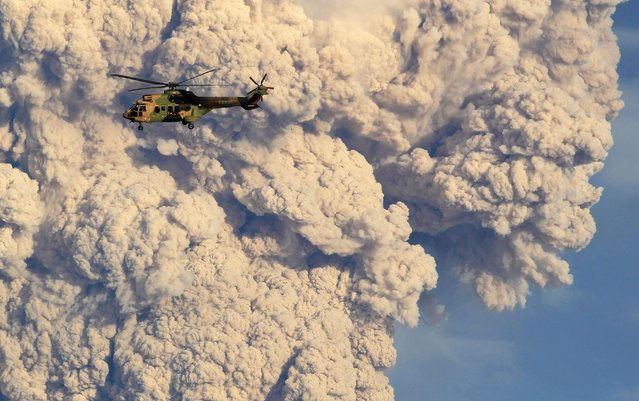 A helicopter flies past a column of ash and steam rising from the Puyehue-Cordon Caulle volcanic chain near Osorno city in south-central Chile June 5, 2011