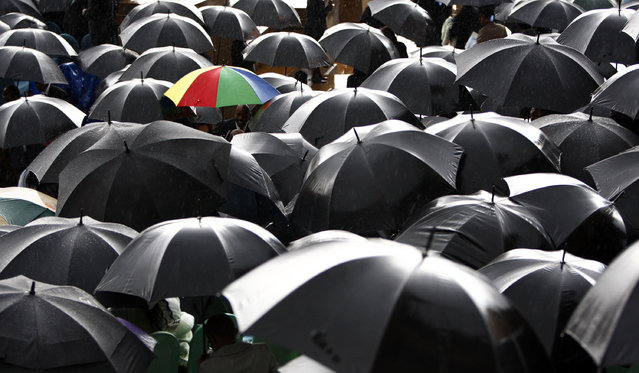 Guests attending President Jacob Zuma's inauguration at the Union Buildings in Pretoria shelter from the rain in South Africa, May 9, 2009. (Photo by Steve Crisp/Reuters)