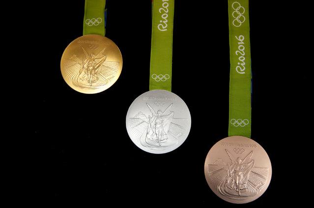 The Rio 2016 Olympic medals are pictured at the  Casa da Moeda do Brasil (Brazilian Mint) in Rio de Janeiro, Brazil, June 28, 2016. (Photo by Sergio Moraes/Reuters)
