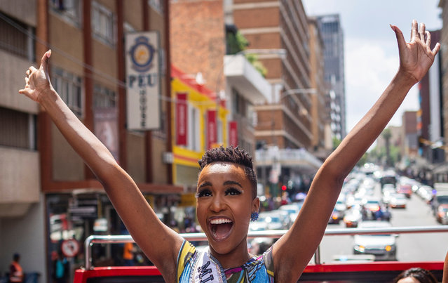 Miss Universe Zozibini Tunzi (C) waves at fans as she is driven through the streets of Johannesburg during her homecoming parade after being crowned in December 2019, Johannesburg, South Africa, 13 February 2020. Zozibini is the first black women to win the title. Miss Universe is an annual international beauty pageant that is run by the United States-based Miss Universe Organization. (Photo by Kim Ludbrook/EPA/EFE)