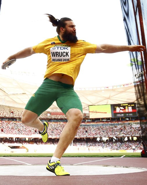 Julian Wruck of Australia competes in the the men's discus throw qualification event at the 15th IAAF World Championships at the National Stadium in Beijing, China, August 27, 2015. (Photo by Kai Pfaffenbach/Reuters)