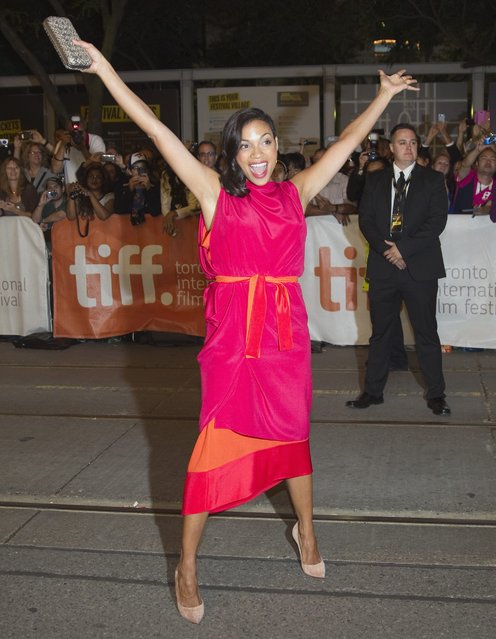 """Actress Rosario Dawson arrives for the premiere of """"Finally Famous"""" (also known as Top Five) at the Toronto International Film Festival (TIFF) in Toronto, September 6, 2014. (Photo by Fred Thornhill/Reuters)"""